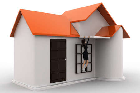 fall about: 3d woman about to fall from roof of house concept on white background, side angle view