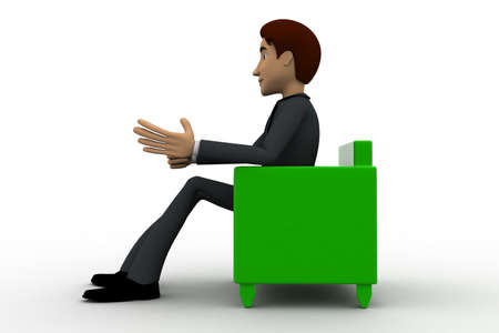sitting sofa: 3d man sitting on sofa concept on white background, side angle view Stock Photo