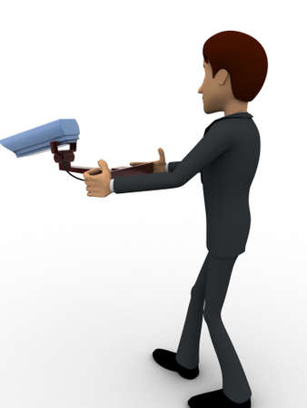 cctv security: 3d man holding cctv security camera in hands concept on white background, side angle view Stock Photo