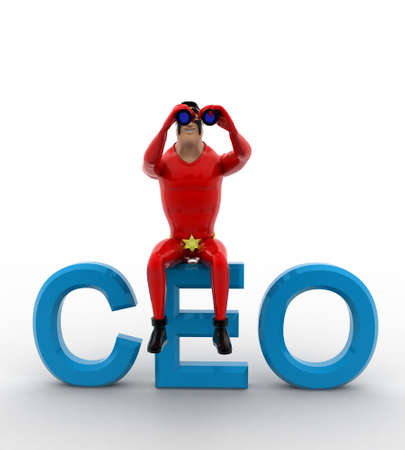 ceo: 3d superhero sitting on CEO text and searching using binocular concept on white background, front angle view Stock Photo