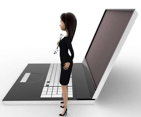 computer repair: 3d woman with wrench to repair laptop computer concept on white background, side angle view Stock Photo