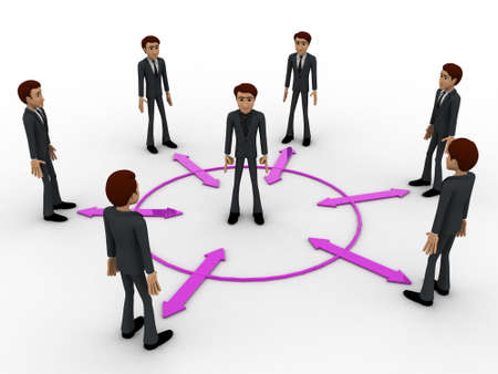 bidirectional: 3d man in center of every bidirectional arrow with other men concept on white background, front angle view