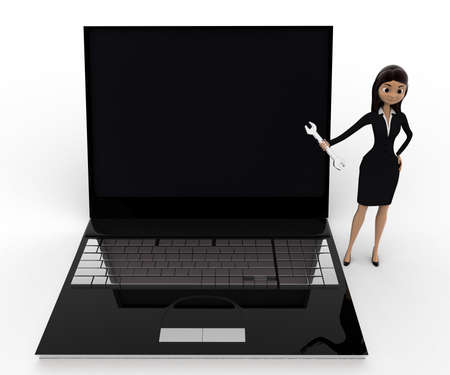 laptop repair: 3d woman with wrench to repair laptop computer concept on white background, front angle view