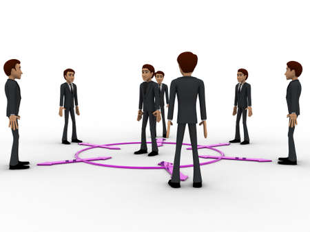 bidirectional: 3d man in center of every bidirectional arrow with other men concept on white background,  side angle view Stock Photo