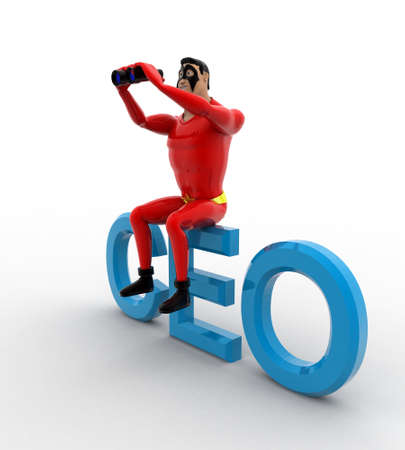 ceo: 3d superhero sitting on CEO text and searching using binocular concept on white background, side angle view
