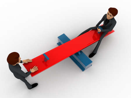 see saw: 3d men sitting on see saw concept on white background,  top  angle view