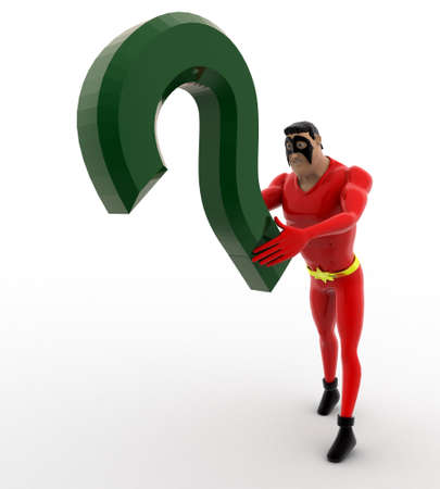 angle: 3d superhero with green question mark concept on white background, front angle view Stock Photo