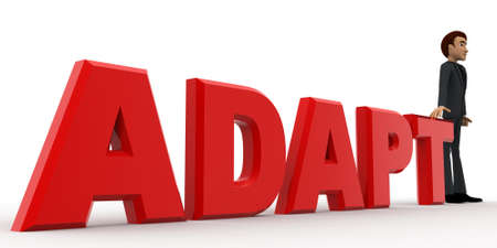 adapt: 3d man in front of adapt text concept on white background,  side  angle view Stock Photo
