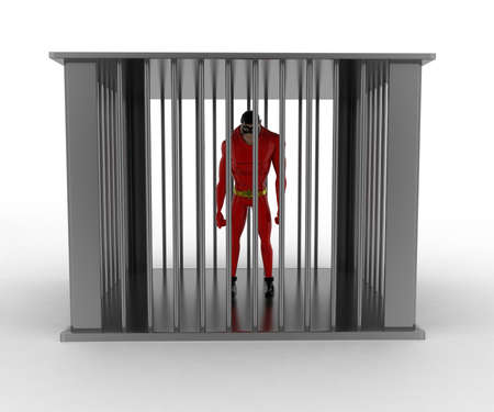 angle bar: 3d superhero into bar jail concept on white background, front angle view Stock Photo