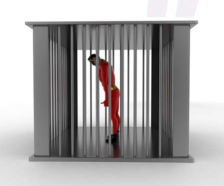 angle bar: 3d superhero into bar jail concept on white background, side angle view