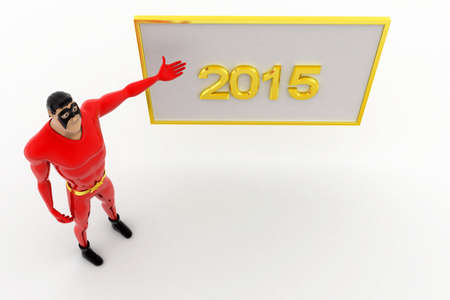 three dimensions: 3d superhero poininting at 2015 board concept on white background, top angle view Stock Photo