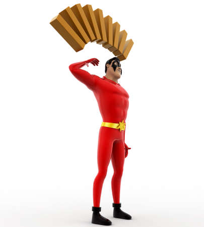 deep thought: 3d superhero in deep thought concept on white background,  side angle view