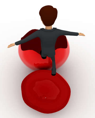 go inside: 3d man trying to go inside broken red egg  concept on white background, top angle view Stock Photo