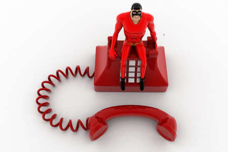 old telephone: 3d superhero standing on red old telephone concept on white background, top angle view