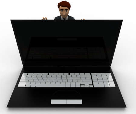 closing: 3d man pushing laptop screen and closing it concept on white background, front angle view