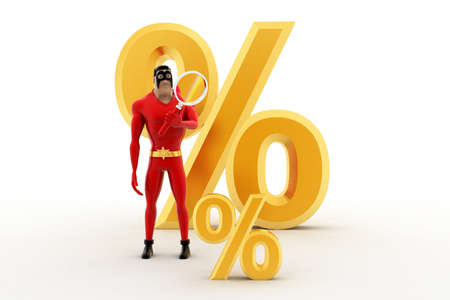 examine: 3d superhero examine small percentage symbol using magnifying glass concept on white background, front angle view