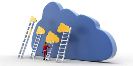 reach: 3d superhero with cloud and ladder to reach clouds concept on white background, side angle view Stock Photo