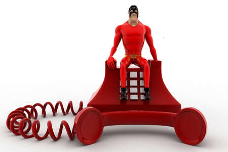 old telephone: 3d superhero standing on red old telephone concept on white background, front angle view