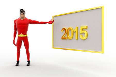 three dimensions: 3d superhero poininting at 2015 board concept on white background, side angle view Stock Photo