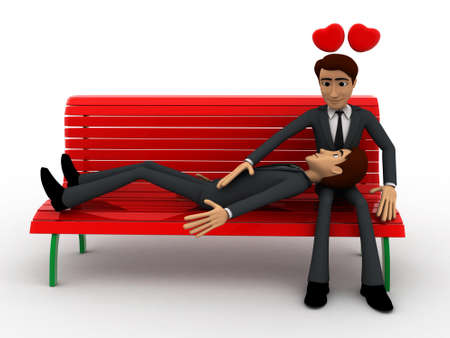 gay men: 3d gay men couple sitiing on batch with heart concept on white background, front angle view