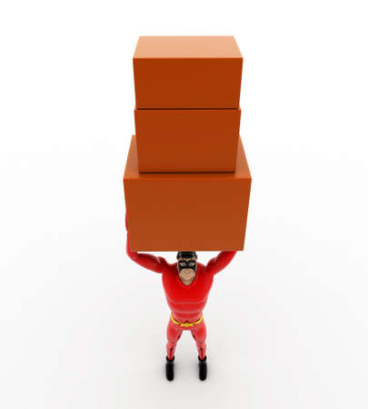 togther: 3d superhero carry three boxes togther concept on white background, top angle view