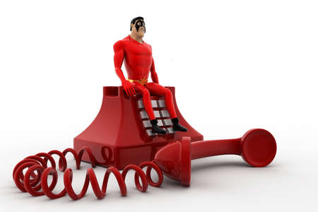old telephone: 3d superhero standing on red old telephone concept on white background, side angle view Stock Photo