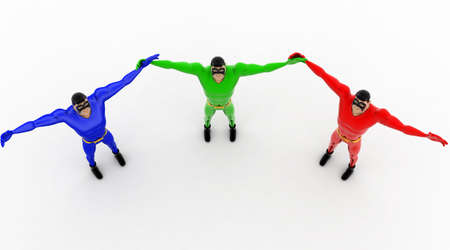 three hands: 3d three pneguins happy and hands up concept on white background, top angle view