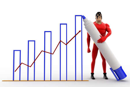 three dimensions: 3d superhero draw growth graph concept on white background, front angle view Stock Photo
