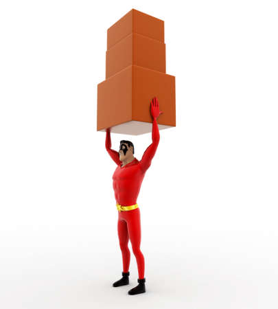 togther: 3d superhero carry three boxes togther concept on white background, side angle view