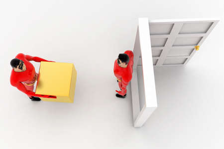 three dimensions: 3d superhero deliverying box at door to another superhero concept on white background, top angle view