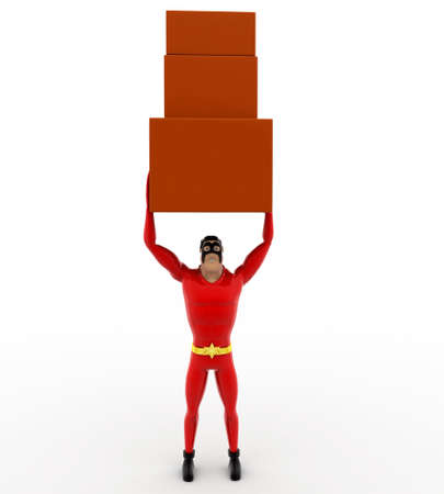 togther: 3d superhero carry three boxes togther concept on white background, front angle view