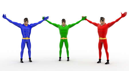 three hands: 3d three pneguins happy and hands up concept on white background, front angle view Stock Photo