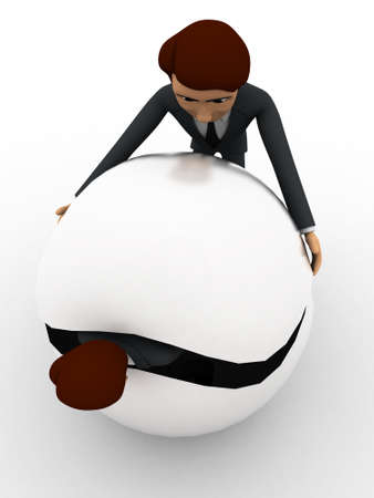 hide: 3d man try to hide body inside sphere concept on white background, top angle view Stock Photo