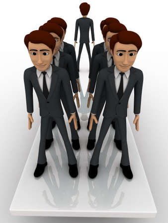 men standing: 3d men standing seesaw one man on on side and group of men on other side concept on white background, front angle view Stock Photo