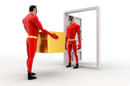 three dimensions: 3d superhero deliverying box at door to another superhero concept on white background, side angle view Stock Photo