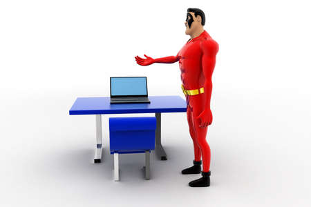 front office: 3d superhero working on laptop on office table concept on white background, front angle view