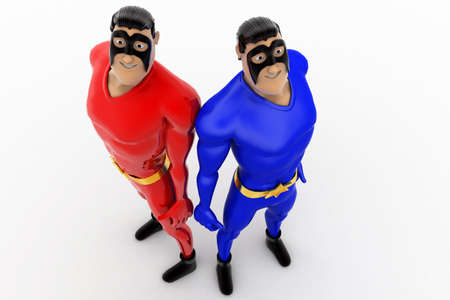 other: 3d two superhero friend leaning on each other concept on white background,  top angle view Stock Photo