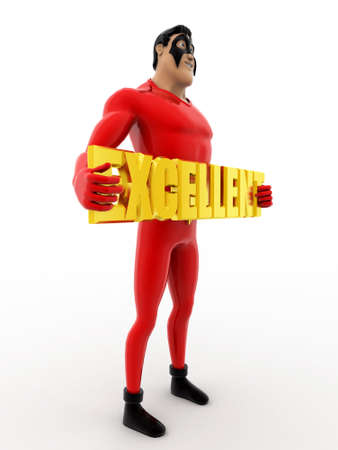 uitstekend: 3d superhero holding excellent colourful text concept on white background, side  angle view