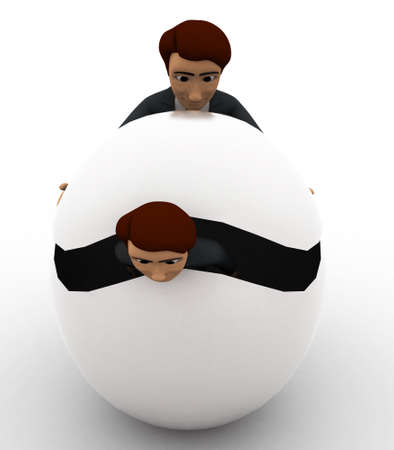 hide: 3d man try to hide body inside sphere concept on white background, front angle view