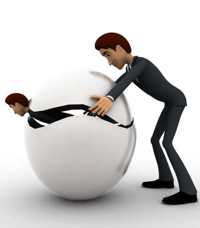 body dimensions: 3d man try to hide body inside sphere concept on white background, side angle view