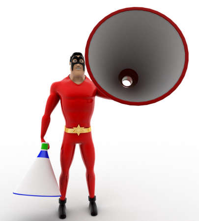 loud speaker: 3d superhero with two blue and red loud speaker concept on white background, front angle view Stock Photo