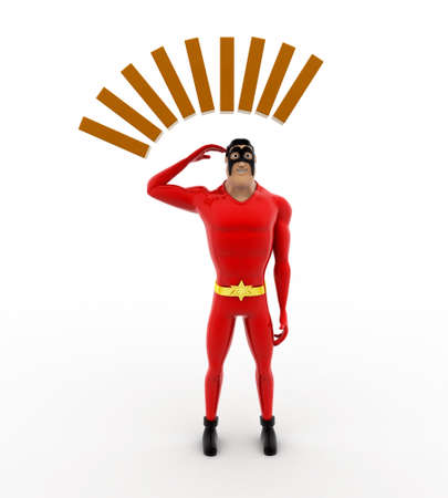 deep thought: 3d superhero in deep thought concept on white background, front angle view