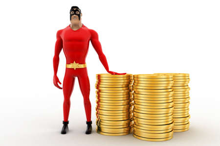 three dimensions: 3d superhero with pile of coins concept on white background, front angle view