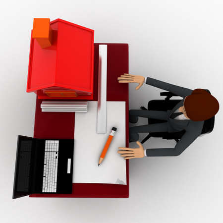 model home: 3d man making home plan on laptop with small model of house on talbe concept on white background, top angle view
