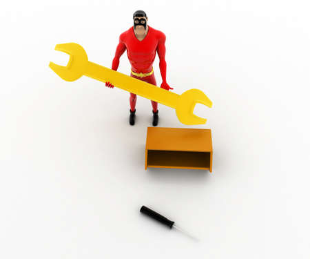 found: 3d superhero found golden wrench in tool box concept on white background, top angle view Stock Photo