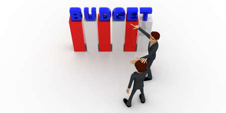 to discuss: 3d man discuss budget plan concept on white background,  top angle view