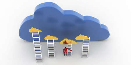 reach: 3d superhero with cloud and ladder to reach clouds concept on white background, top angle view