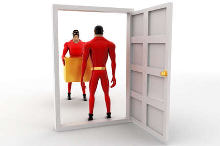 another: 3d superhero deliverying box at door to another superhero concept on white background, back angle view Stock Photo