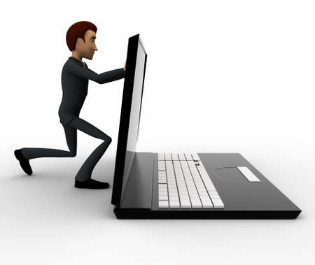 closing: 3d man pushing laptop screen and closing it concept on white background, side angle view