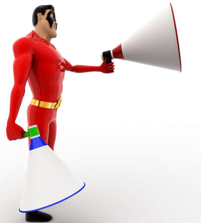 loud speaker: 3d superhero with two blue and red loud speaker concept on white background, side angle view